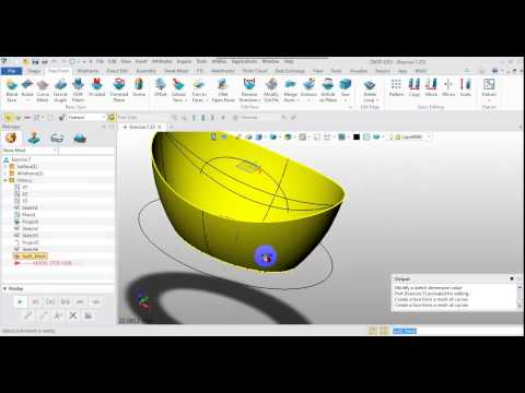 Using a sketch,project,combined projection,curve mesh,FEM patch,revolve,sew,and fillet in ZW3D