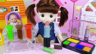 Baby doll and candy chocolate maker and refrigerator toys play - 토이몽
