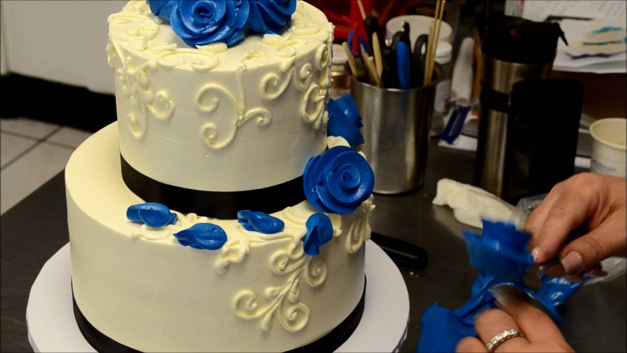 Two Tier Blue Roses Wedding Cake Decorating Tutorial