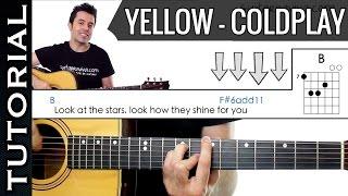 Como tocar Yellow de ColdPlay en guitarra acústica fácil Versión original