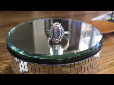 Solid Black Opal and Stirling Silver Engraved Ring