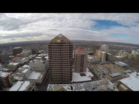 Downtown Albuquerque on a cold and windy day