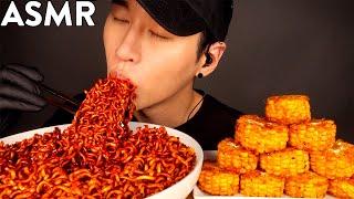 ASMR BLACK BEAN FIRE NOODLES & CAJUN CORN MUKBANG (No Talking) COOKING & EATING SOUNDS