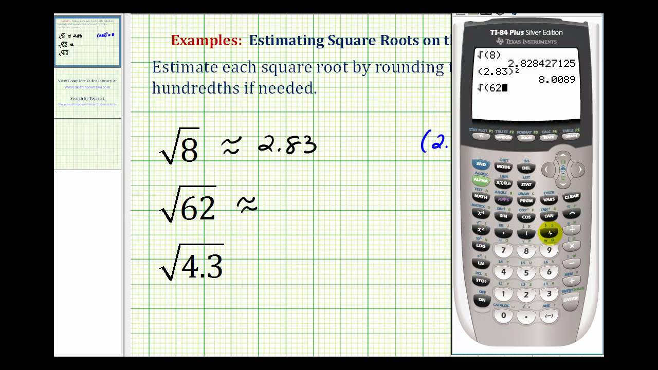 Ex Estimating Square Roots With The Calculator Youtube
