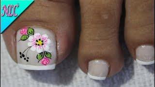 DISEÑO DE UÑAS PARA PIES FLORES Y ROSAS SENCILLAS - FLOWERS NAIL ART - NLC