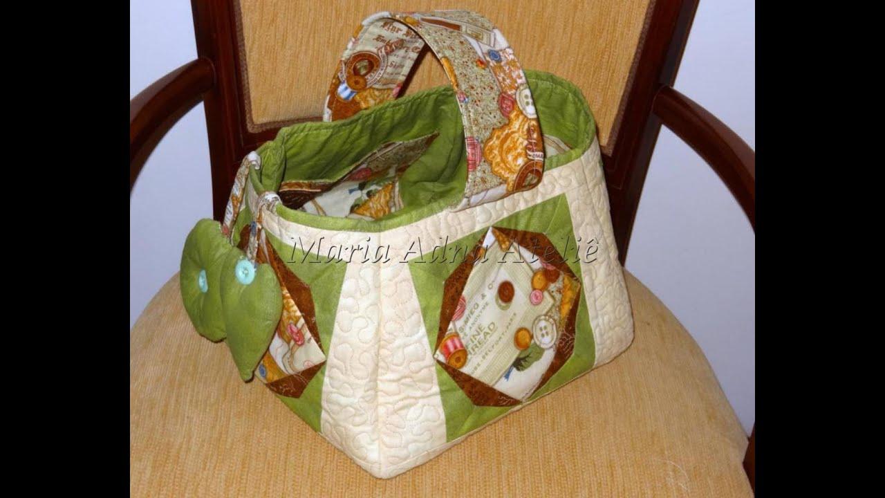 Função Do Aparador Na Sala ~ Cesto de costura em patchwork DIY Quilted patchwork sewing basket Make a quilted patchwork