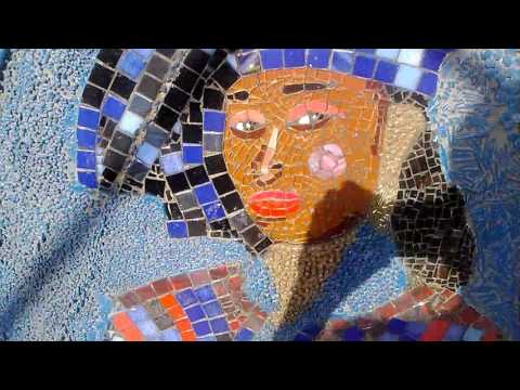 "Mosaic Stained glass, beads and buttons painting, handmade - ""African beauty"""