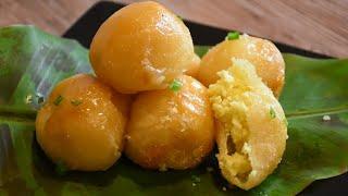 Kanom Kai Hong - Sugar Glazed Version - Glutinous Rice Balls Filled with Mung Beans