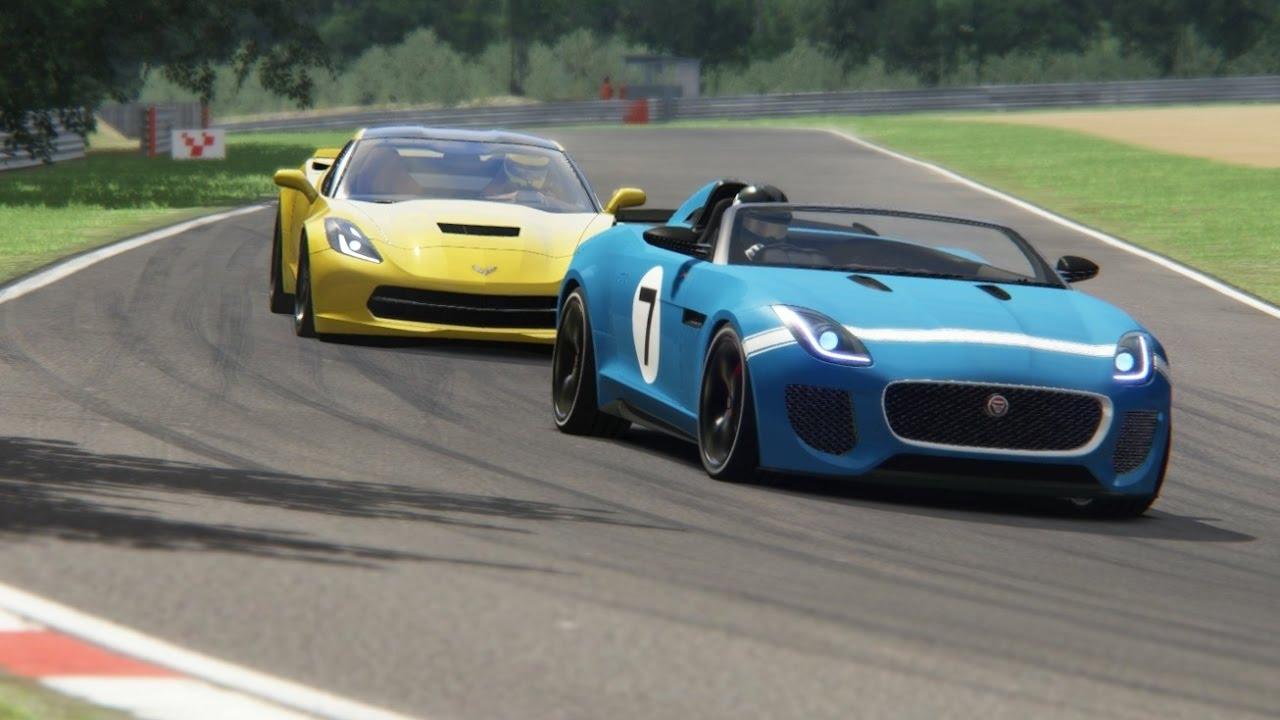 Batle Jaguar F Type Project 7 Vs Chevrolet Corvette C7 Stingray At Brands Hatch