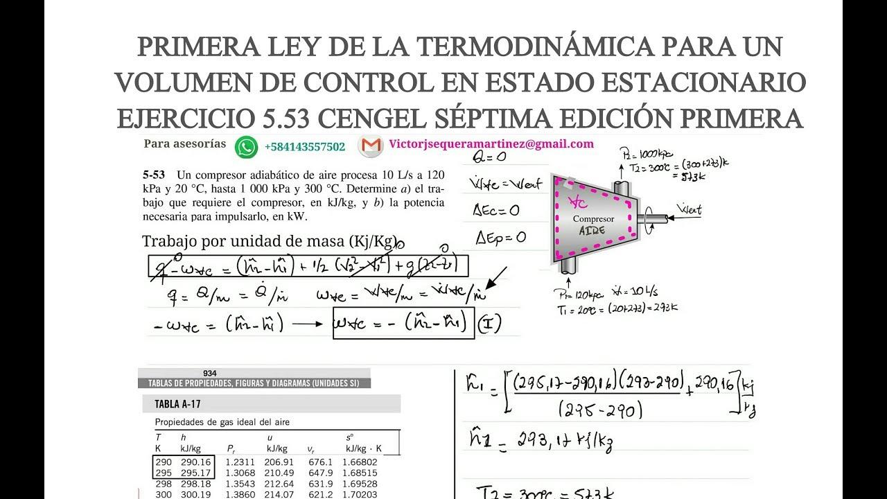 Potencia de un compresor termodinamica
