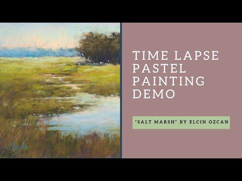 Time lapse pastel painting Salt Marsh