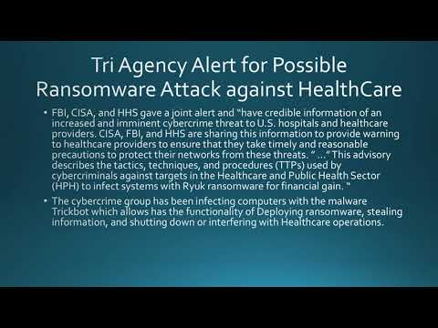 Tri Agency Alert For Imminent Ransomware Attack On HealthCare