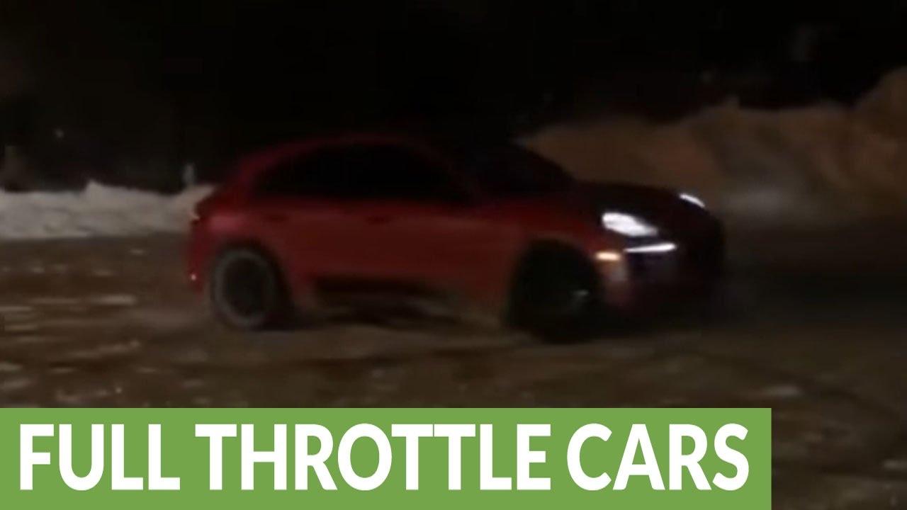 Lamborghini drifts hard in the snow