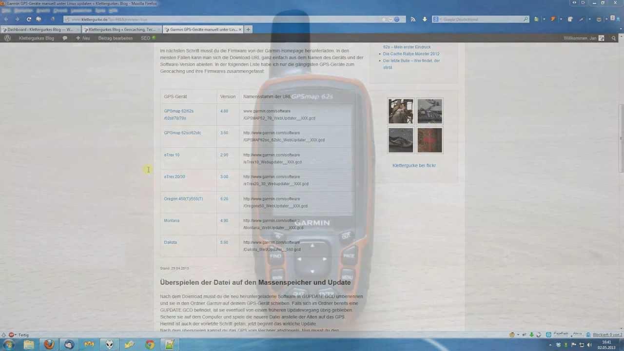 Garmin GPS-Geräte manuell unter Windows oder Linux updaten