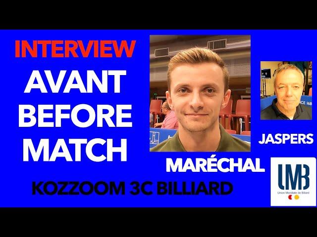 Billard  Gwendal Maréchal vs Jaspers Avant match face au numéro 1 mondial CHALLENGE CUP 3C Kozoom