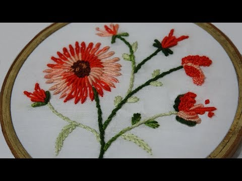 Hand Embroidery of Bullion Lazy Daisy Stitch
