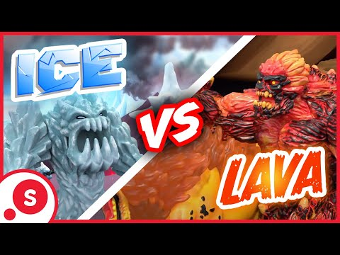 The battle of Schleich Eldrador® Creatures: ice vs. lava