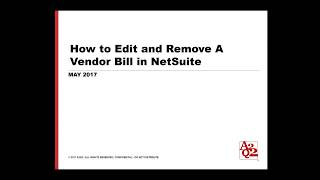 How to Edit and Remove a Vendor Bill in NetSuite