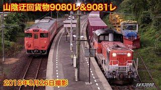 【JR貨物 迂回貨物列車9080レ&9081レ 山口線~山陰本線(DD51 1804号機&1802号機) 2018.9.26】
