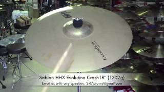 sabian hhx evolution crash 18 1202g 247drums sr sound review bwyh buy what you hear