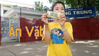 Thử Thách Ăn Vặt 100k Ở Cổng Trường THCS Quang Trung | Như Quỳnh Kids