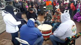 2018 Santa Fe New Mexico Women's March - Cedric Gomez and Pueblo de Cochiti Drum Clip 1