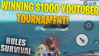 WINNING YOUTUBER TOURNAMENT WITH $1000 PRIZE POOL IN RULES OF SURVIVAL (ROS MOBILE)