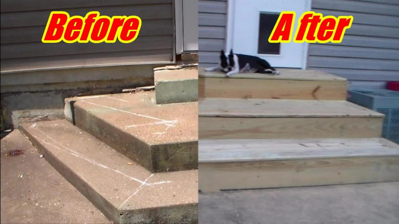 Deck Steps Over Crooked Concrete Youtube | Wood Stairs Over Concrete | Stair Stringers | Cement | Concrete Slab | Patio | Build