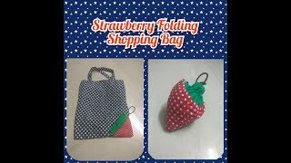 Strawberry (folding) shopping bag/ best out of waste - bag out of kurti, how to sew folding bag