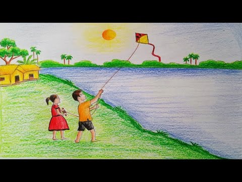How to draw  scenery of Kite flying Step by step (very easy)