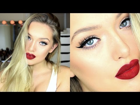 Winged Eyeliner+ Red Lip + Learn How to Fix Broken Makeup! - Holiday Makeup