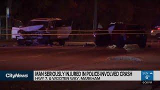 Man seriously injured in police-involved crash