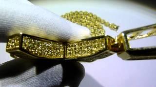 lemonade combo 13 lab made yellow diamond pave cluster chain 360 ring convex cross gucci mane