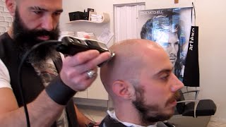 Binaural ASMR  - Old Style Barber - clippers head and face shave with massage - no talking