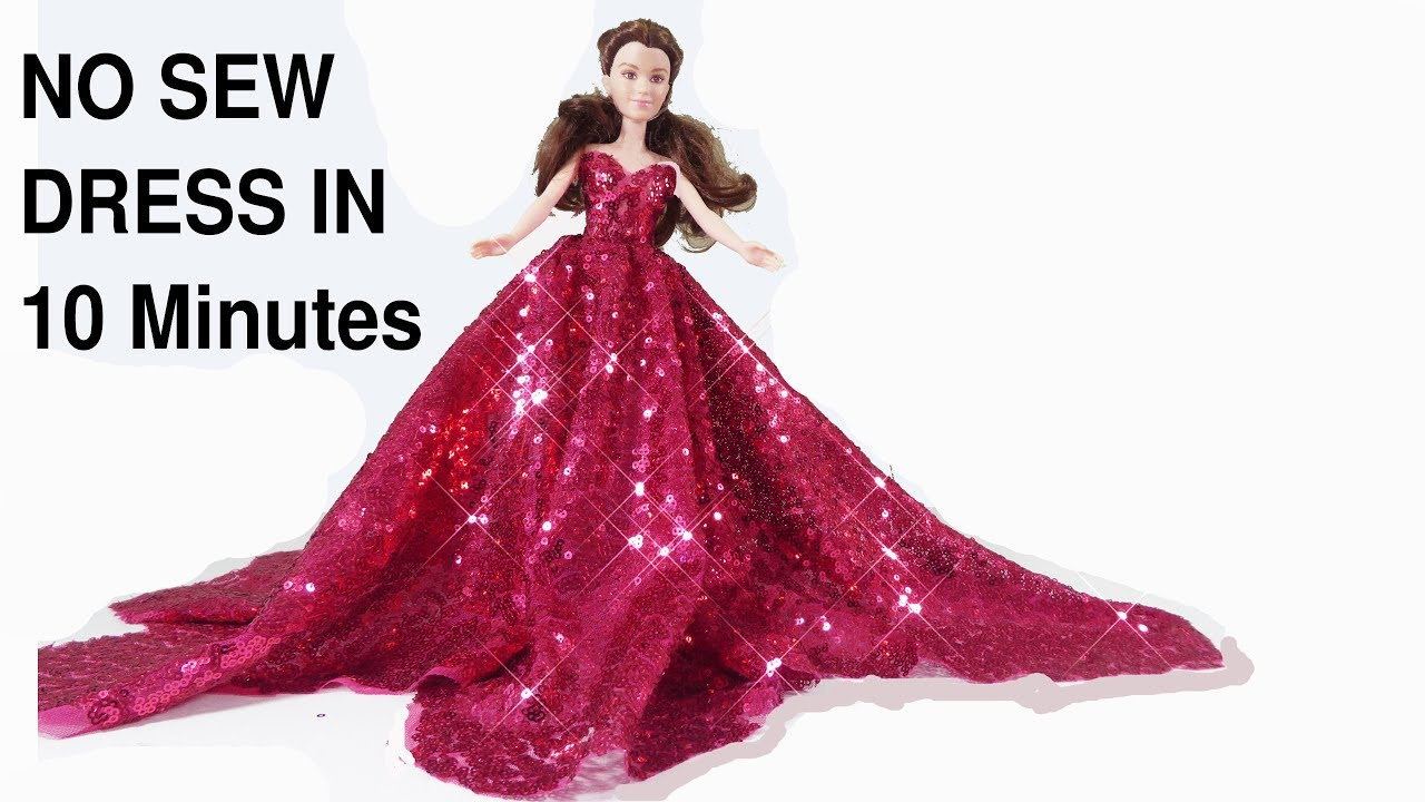 How To Make No Sew Barbie Doll Dress Wedding Party Gown Youtube