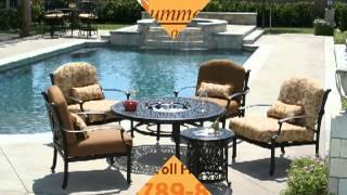 Cast aluminum patio furniture 877-789-8763 Topeka KS 66614 umbrella stand patio accessories BBQ