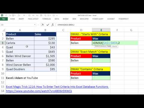 """Excel Magic Trick 1217: D Functions: Text Criteria: """"Starts With"""", """"Exact"""" and """"Contains"""""""