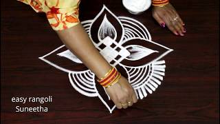 3 Small kolam designs for evenings || Beginners rangoli & muggulu designs