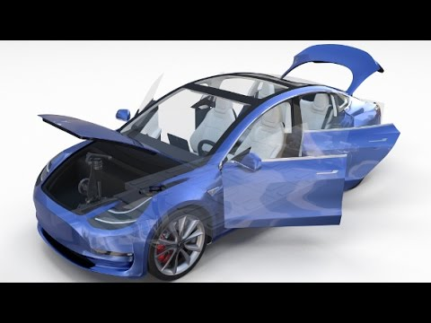 Tesla Model 3 with interior and chassis 3D model