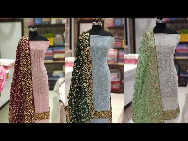 Lucknowi Suit With Chinkari Work And Gota Patti Dupatta|Joginder Cloth House