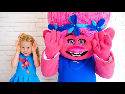 Nastya sings a nursery rhyme song Peek-a-boo with her funny friend troll and pretend play