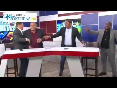 Presentadores de televisión en Honduras se van a los golpes en VIVO