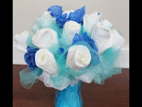 How to make a diaper bouquet for a baby shower