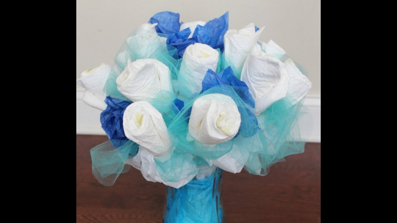 57f5363be How to make a diaper bouquet for a baby shower - YouTube