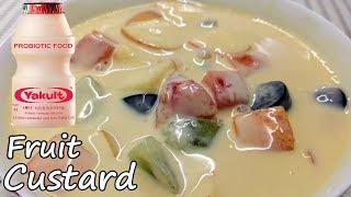 eggless fruit custard pudding