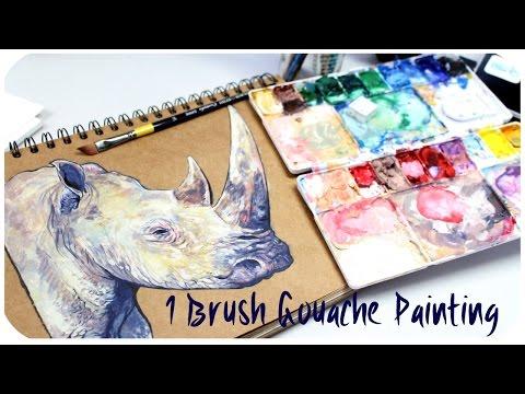 🦏One Brush Gouache Painting #1 - Rhino🦏