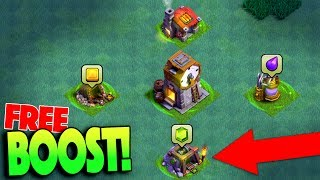 HOW BOOST YOUR BASE FOR FREE! GEMMING NEW CLOCK TOWER! CLASH OF CLANS UPDATE