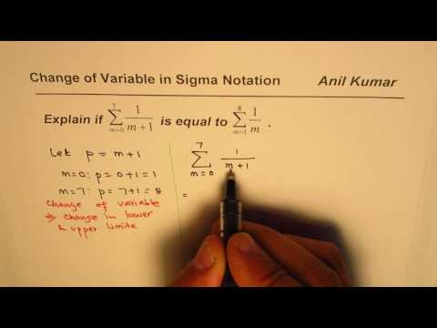 Change of Variable in Summation Sigma Notation