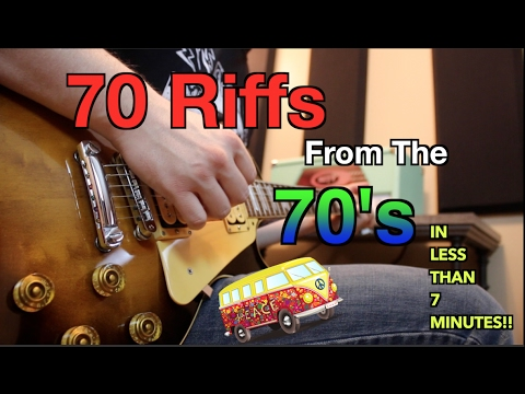 70 Riffs From the 70s on 7 Guitars In Less Than 7 Minutes!!   Can You Name Them All?
