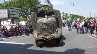 D-Day Military vehicles departing Sainte Mere Eglise June 8th 2013